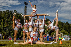 A cheerleading team in need of fundraising assistance